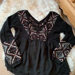 CUTE Babydoll Sweater Blend Top